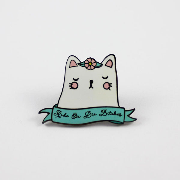 ride or die cat enamel pin