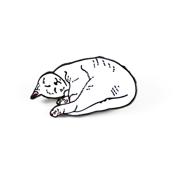 sleeping white cat enamel pin