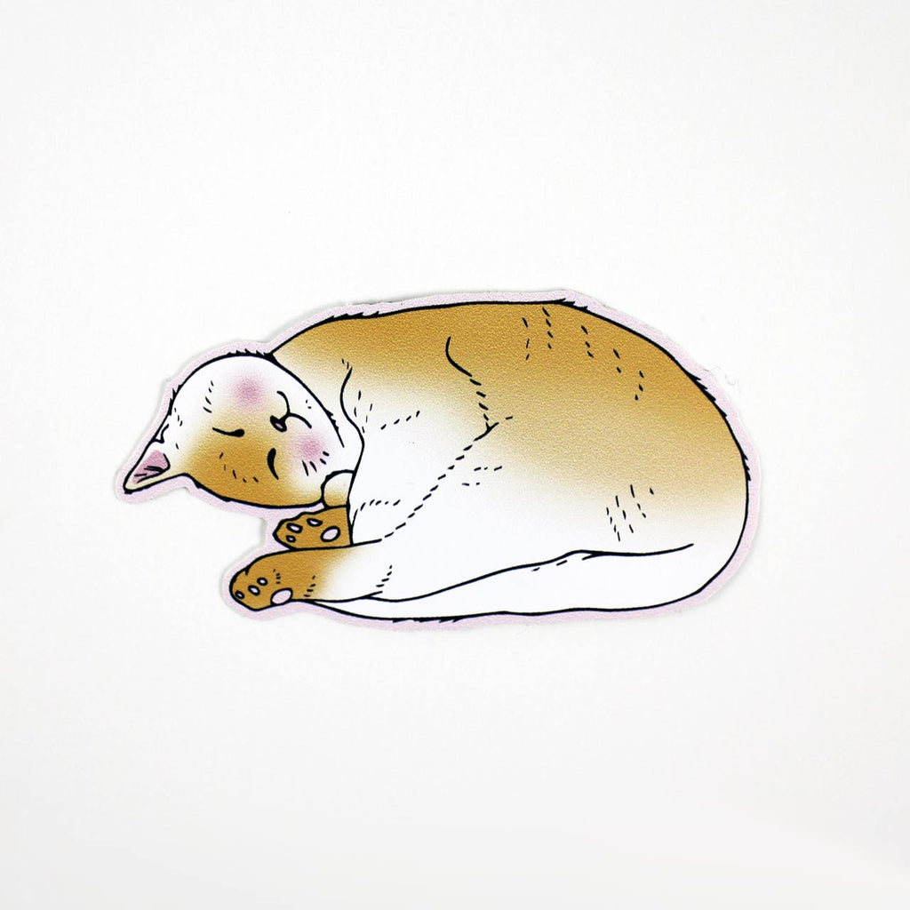 sleeping orange cat vinyl sticker