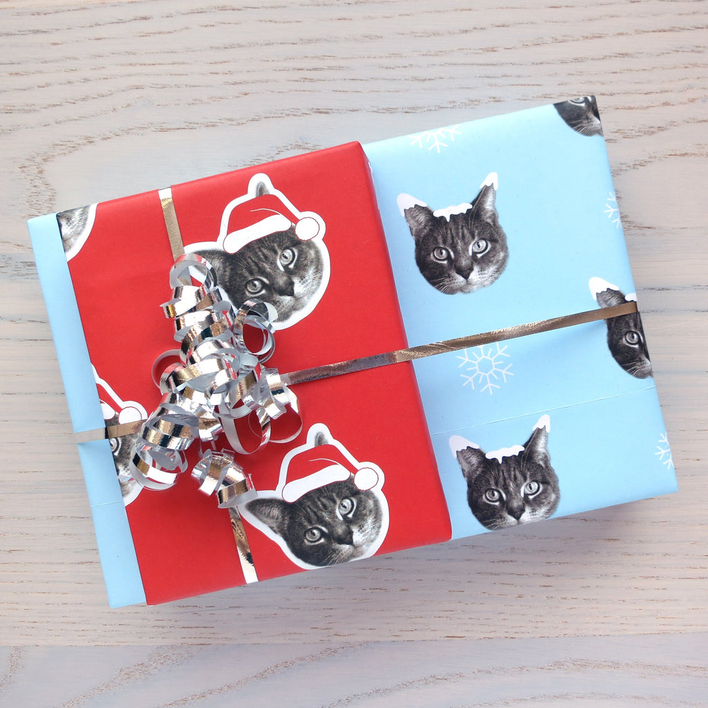snow cat and santa claws gift wrap