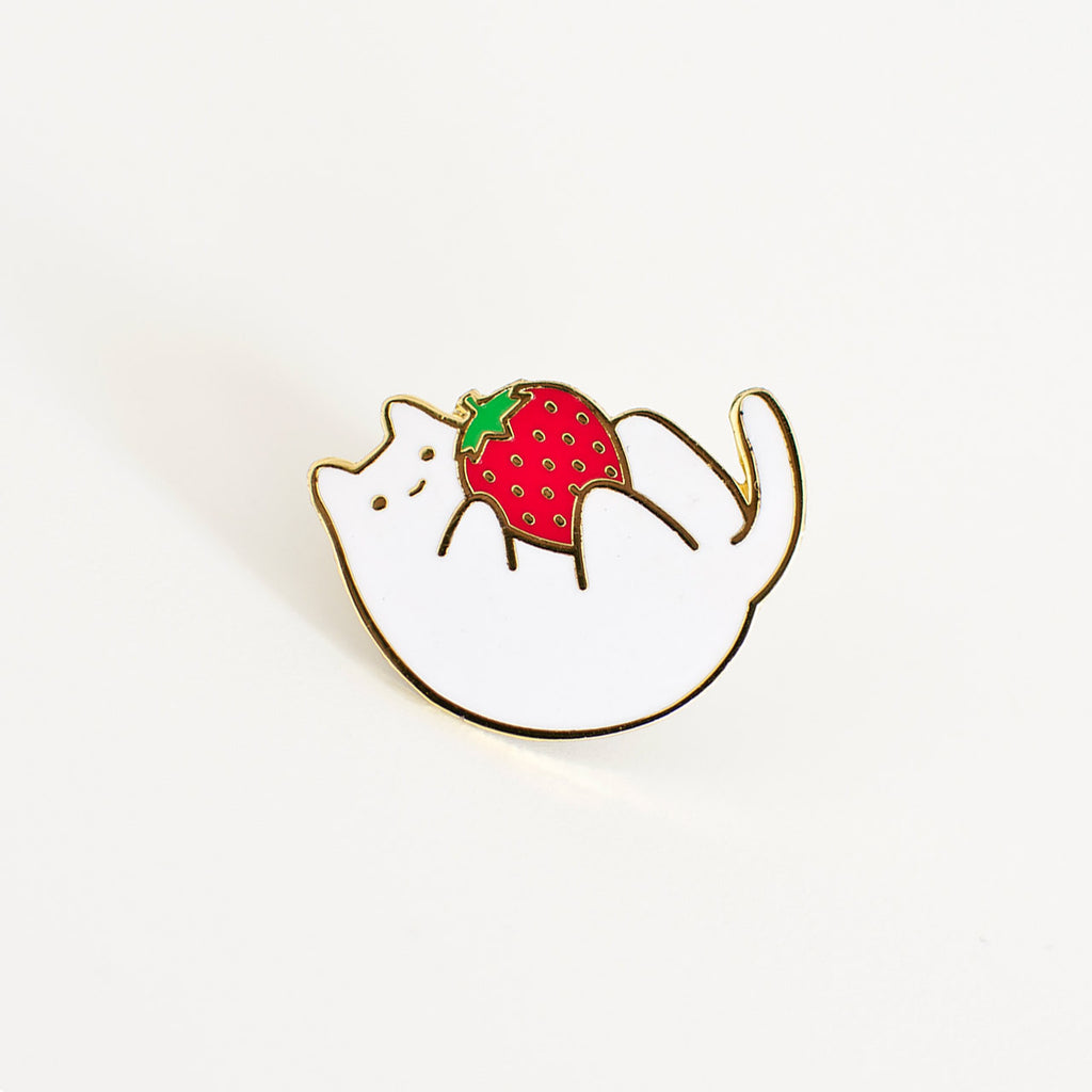 strawberry cat enamel pin
