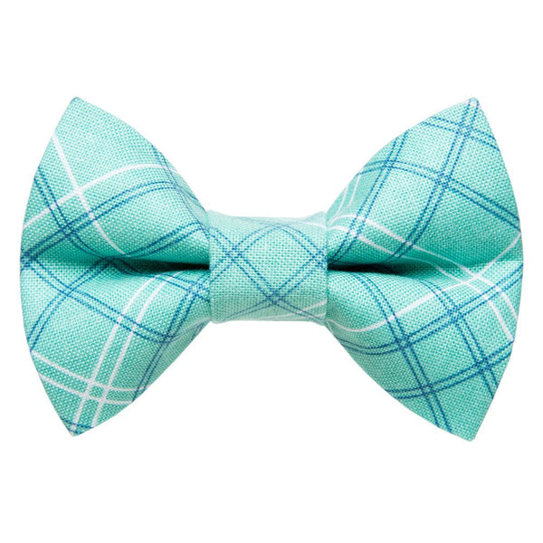 teal plaid cat bow tie