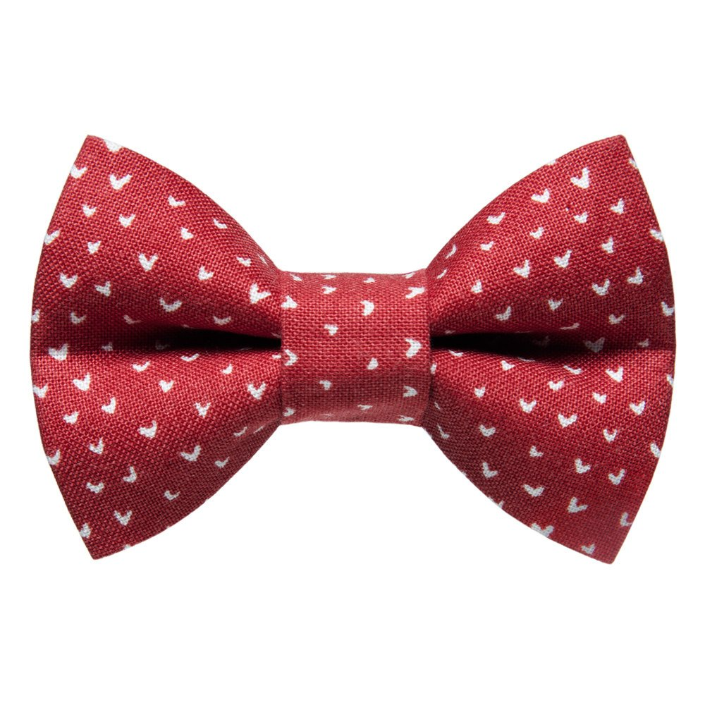 red with white heart print cat bow tie
