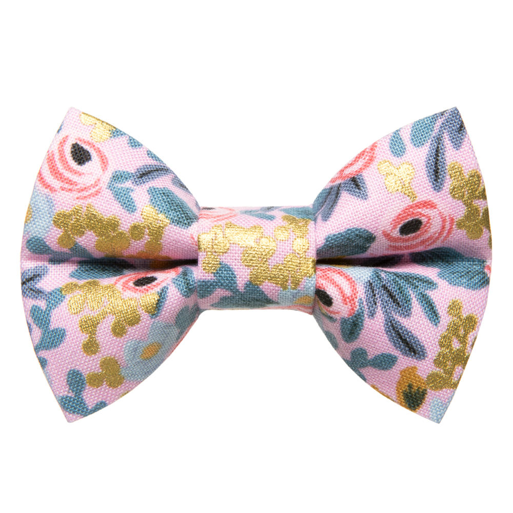 pink and gold floral detachable cat bow tie