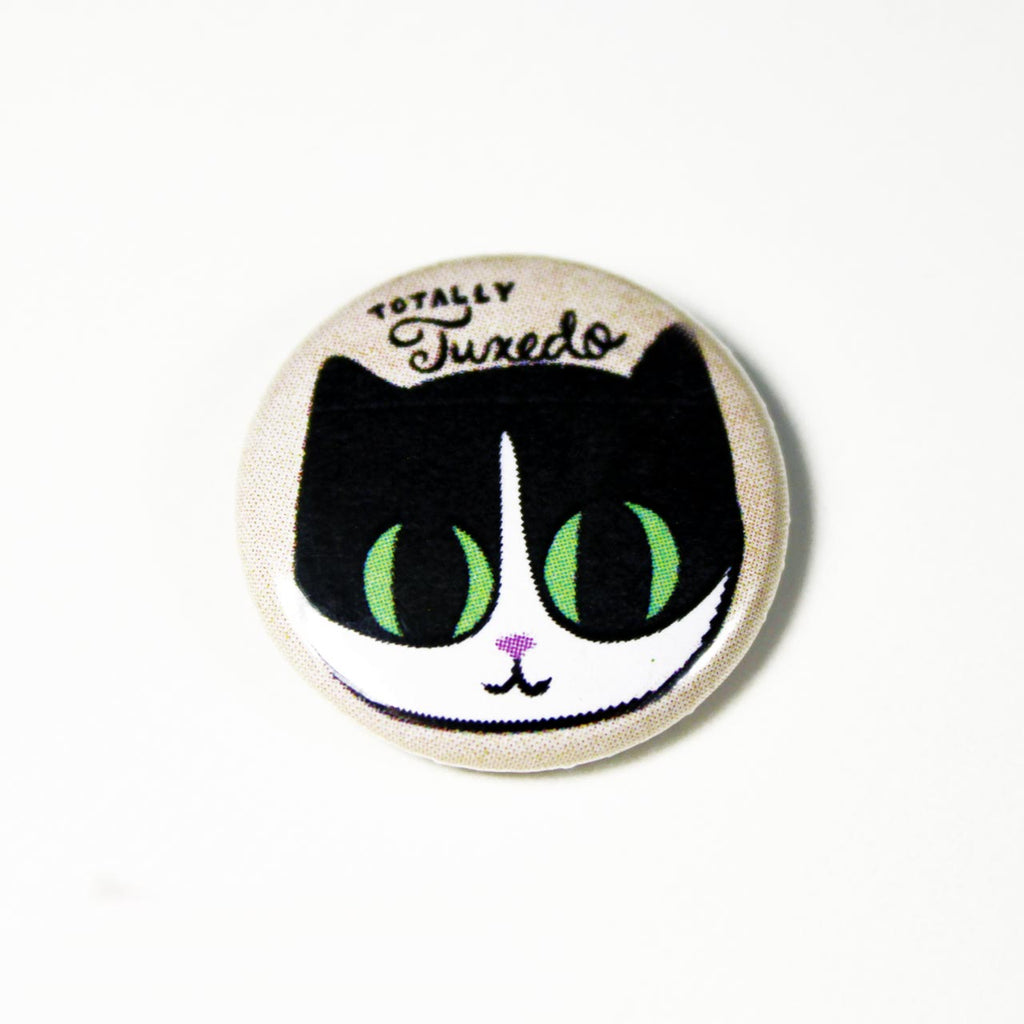 tuxedo cat button pin