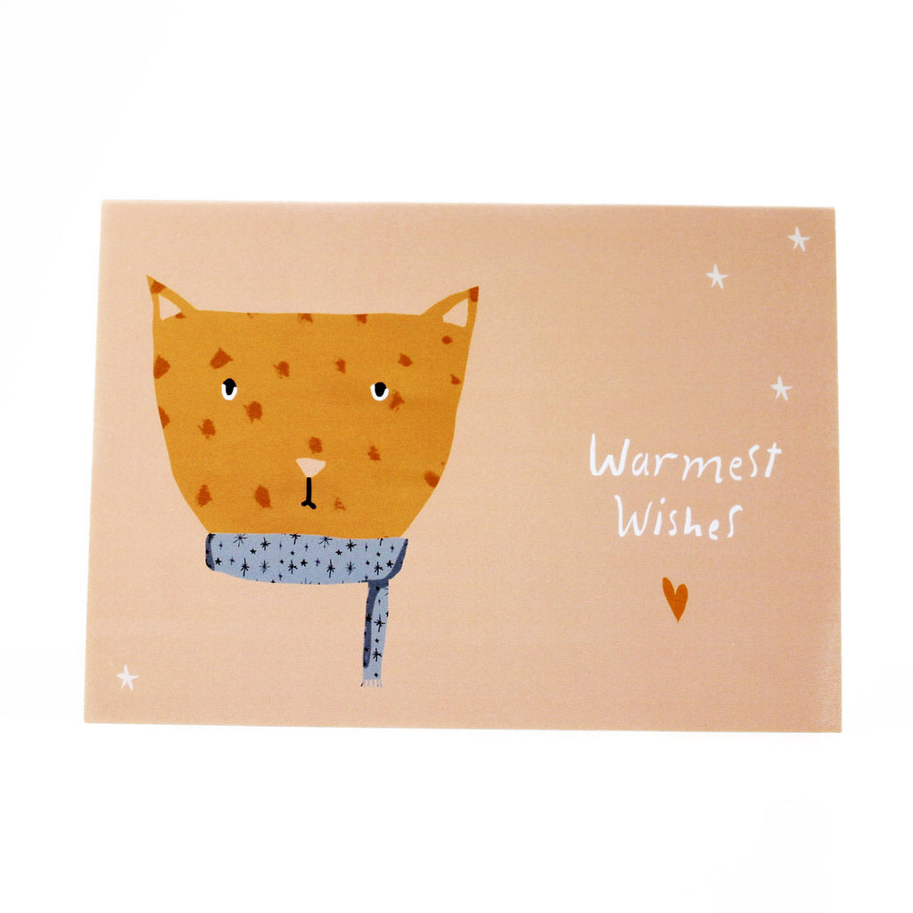 warmest wishes cat lover holiday card