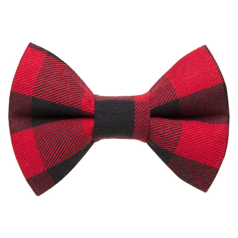 red buffalo plaid cat bow tie