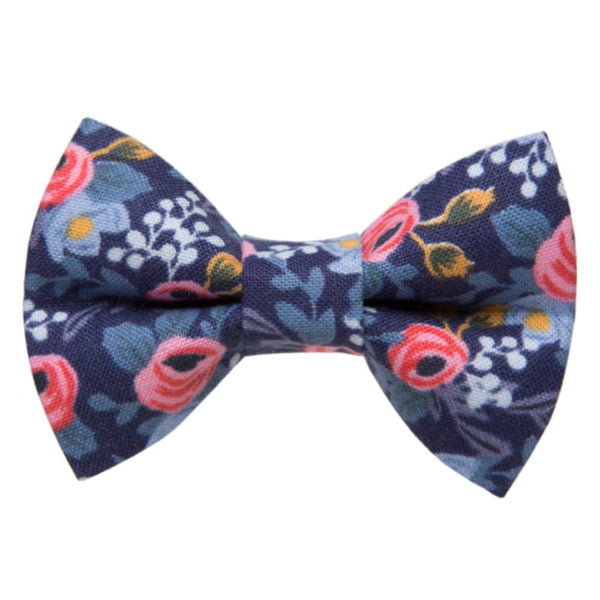 blue and pink floral cat bow tie