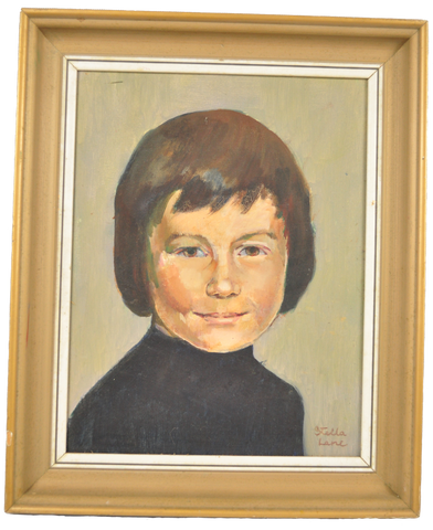 Old Original Stella Lane Portrait Painting of a Young Boy - Vintage Whatnots