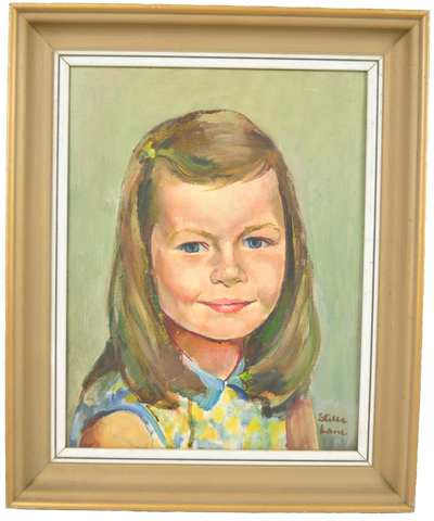 Old Original Stella Lane Portrait Painting of a Young Girl - Vintage Whatnots