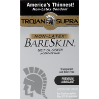 Trojan Supra Non-Latex BareSkin (Retail Pack of 6 polyurethane condoms) Lot Exp 03/2020