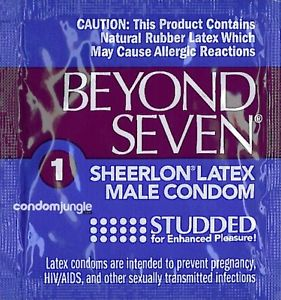 Beyond Seven Sheerlon Studded (8 single condoms)! Lot Exp Sept 2019