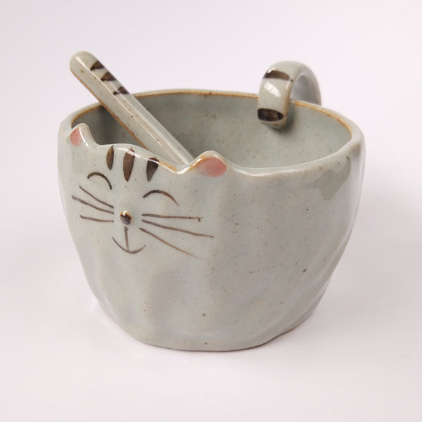 Smiling Cat Face Mug And Paw Spoon Set