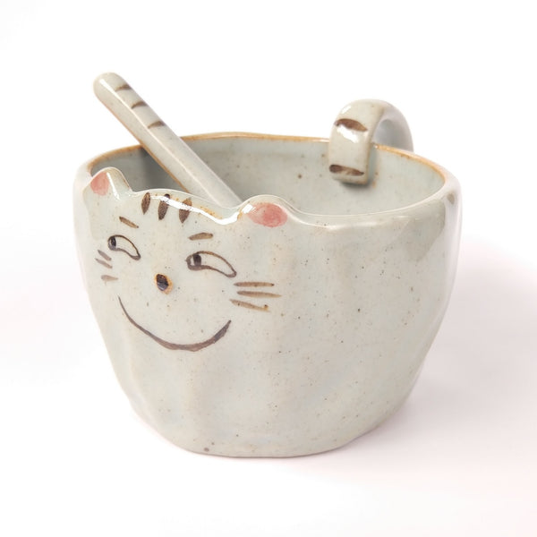Smirking Cat Face Mug And Paw Spoon Set