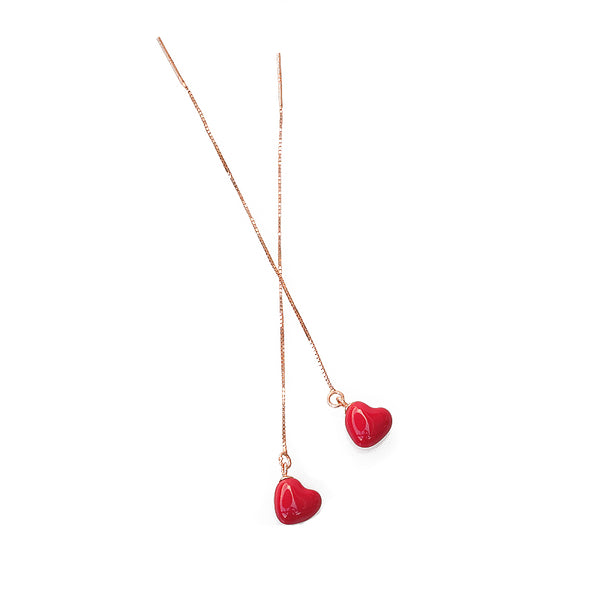 Mini Red Heart Threader Earrings