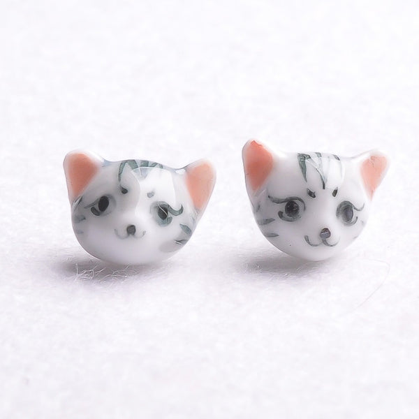 Black Stripe Cat Stud Earrings