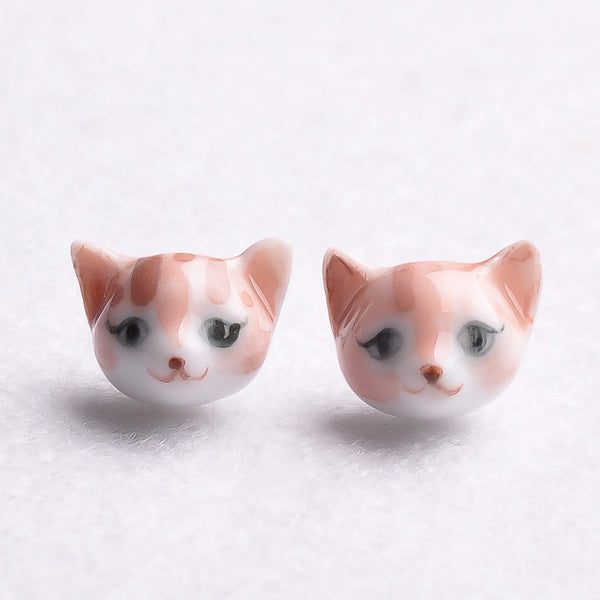 Brown Stripe Cat Stud Earrings