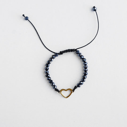 Heart and Beaded String Bracelet - Black