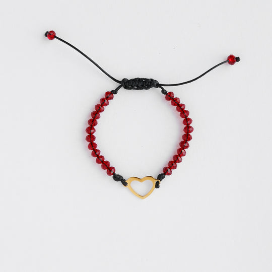 Heart and Beaded String Bracelet