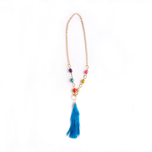 Stone and Tassel Statement Necklace