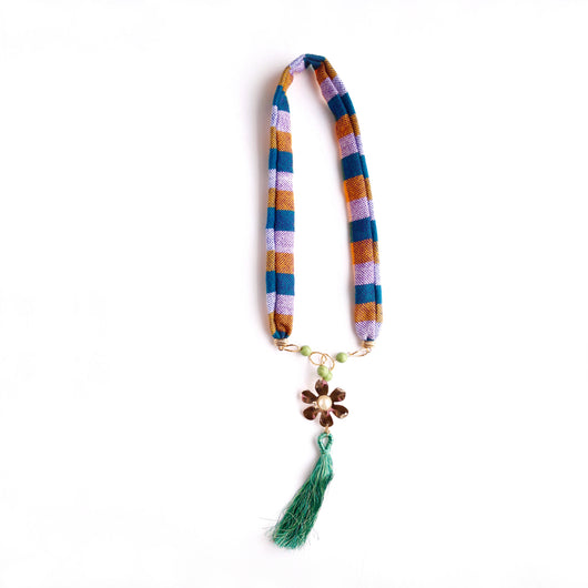 Flower Pendant Green Tassel Woven Necklace
