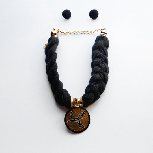 Woven Statement Necklace - Black