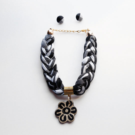 Woven Statement Necklace - White and Black