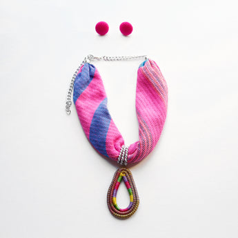 Woven Statement Necklace - Fuchsia