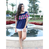 Off the Shoulder Blouse - Navy/Pink