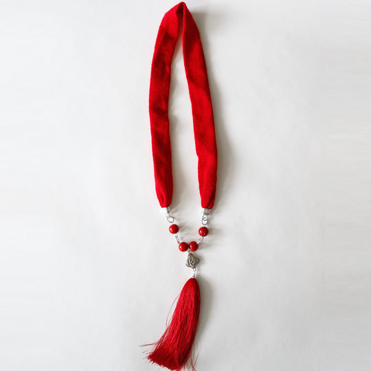 Ruby Red Woven and Tassel Necklace