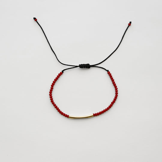 Red Beaded String Bracelet