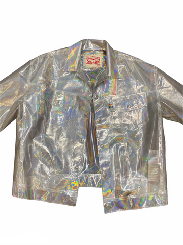 Y2K Rainbow holographic Jean jacket