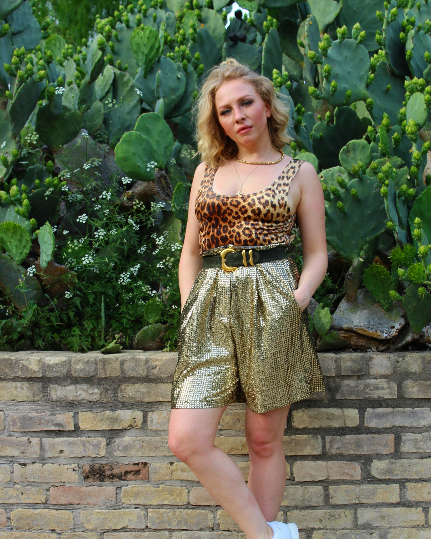 Metallic Gold High-Waisted Shorts