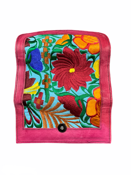 Floral hot pink leather wallet