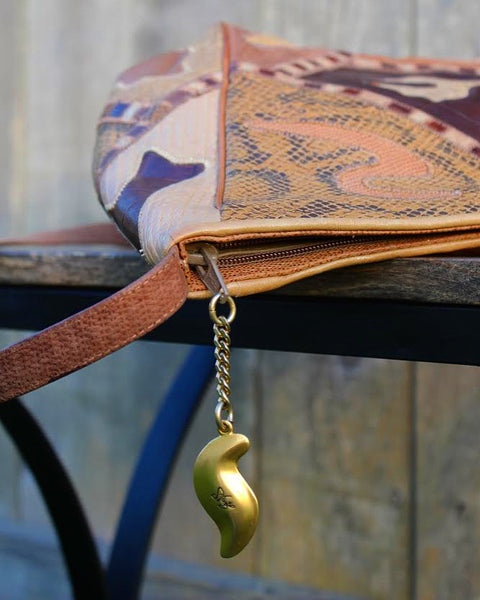 80's Metallic bronze and cream leather patch work crossbody purse