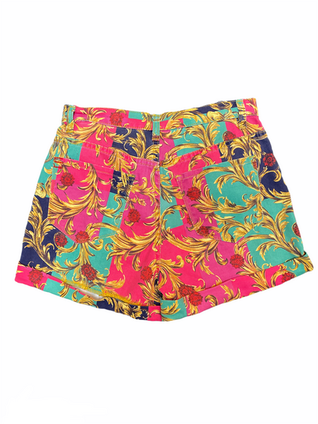 Hot pink and teal shorts with royal decoration