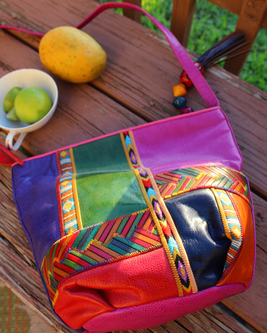 80's tropic patch leather crossbody purse