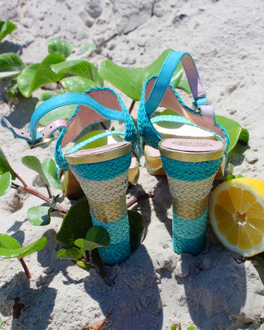 Aqua Basketweave Sandals