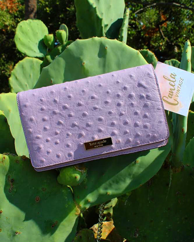 Lavender ostrich leather crossbody