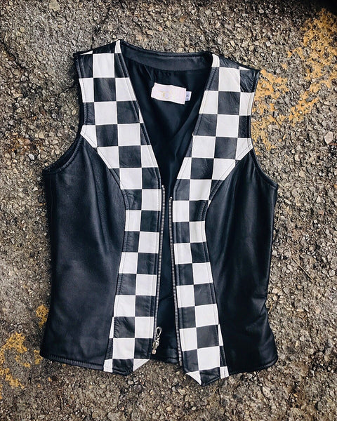 Checked leather vest