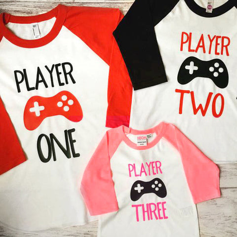 Set Of 3 Player Shirts Video Game Birthday Shirts Family Shirts