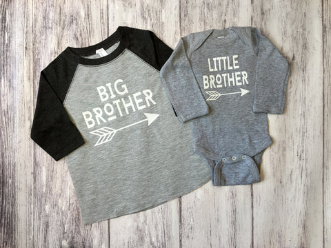 Big Brother and Little Brother Matching Shirts, Brother Baseball Shirts, Gender Reveal Shirts - Purple Elephant STL