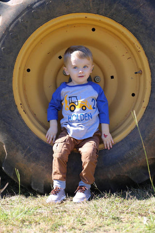 Construction Birthday Shirt, Backhoe Shirt, Construction Truck Shirt, Boys Birthday Shirt - Purple Elephant STL