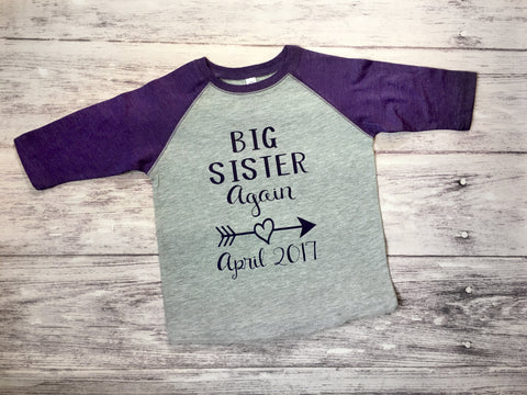 Big Sister Again Shirt, Big Sister Shirt, Sister To Be Shirt, Sister Shirt - Purple Elephant STL