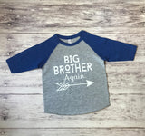 Big brother again shirt, pregnancy announcement shirt, big brother again shirt, new baby announcement, big brother tee - Purple Elephant STL