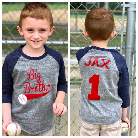 Baseball big brother shirt, big brother shirt, promoted to big brother shirt, baseball shirt, pregnancy announcement shirt, new big brother - Purple Elephant STL