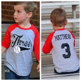 3rd birthday Baseball shirt, 3rd birthday shirt, boys birthday shirt,  baseball t-shirt, baseball birthday party, baseball jersey, - Purple Elephant STL