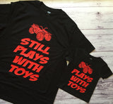 Father's Day Shirt, Daddy & Me Shirts, Still Plays With Toys Shirts, Father & Son, Matching Shirts - Purple Elephant STL