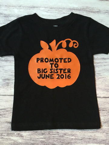 Big Sister Shirt, Promoted To Big Sister, Fall Pregnancy Announcement, Pumpkin Patch Shirt - Purple Elephant STL