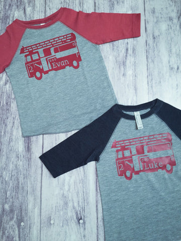 2 Firetruck birthday shirts, Fireman birthday shirt,  Firetruck t-shirt, brothers birthday shirts, twins birthday shirts, twin birthday - Purple Elephant STL